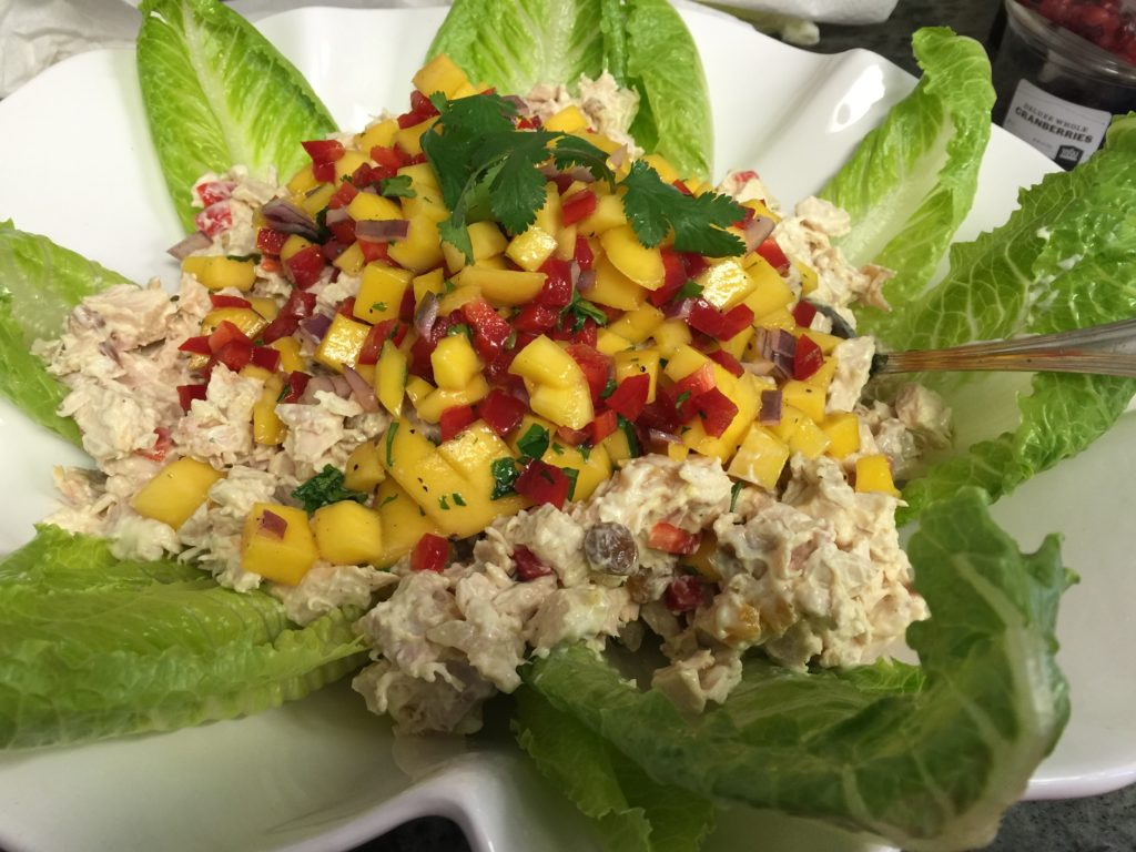 Coronation chicken salad with mango salsa