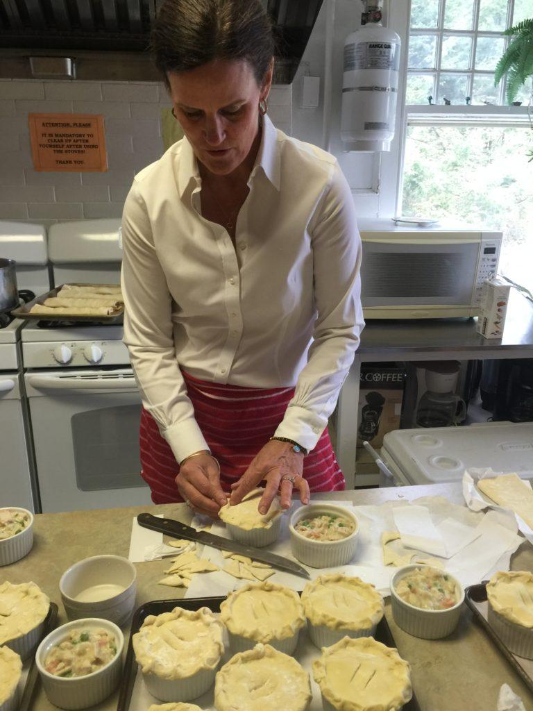 Ellen making chicken pot pies