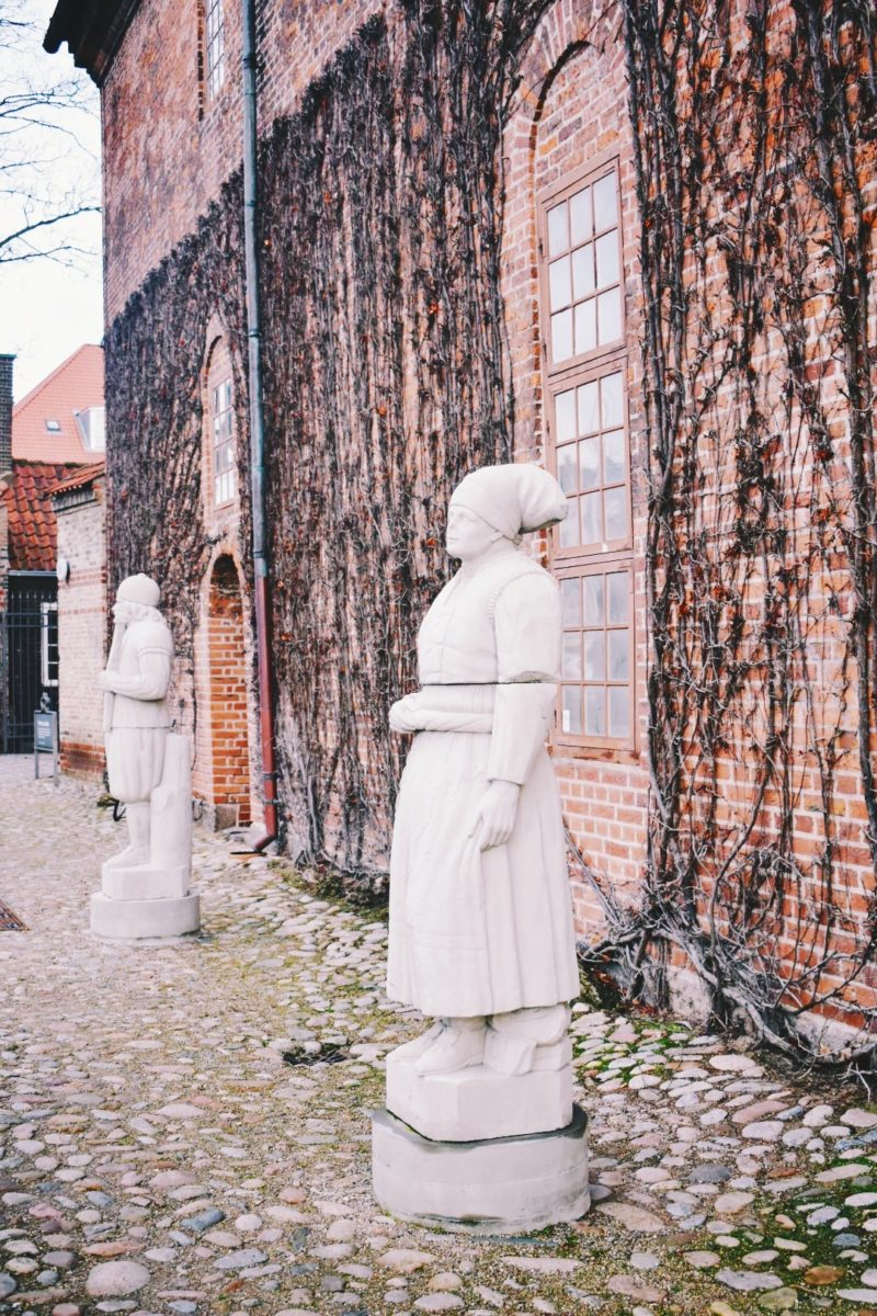 Statues from the Valley of the Norsemen outside the Lapidarium of Kings in Copenhagens