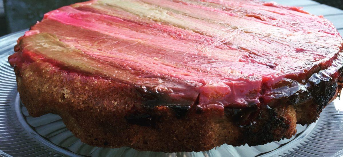 Pretty Pink Rhubarb Upside Down Cake