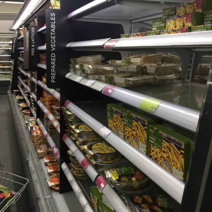 shelves of prepared food M&S
