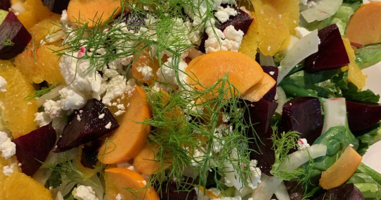 Greens with Beets, Oranges and Goat Cheese