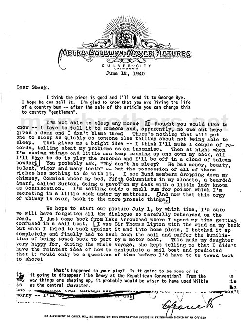 Groucho Marx Letter to Arthur Sheekman -(6-12-40)