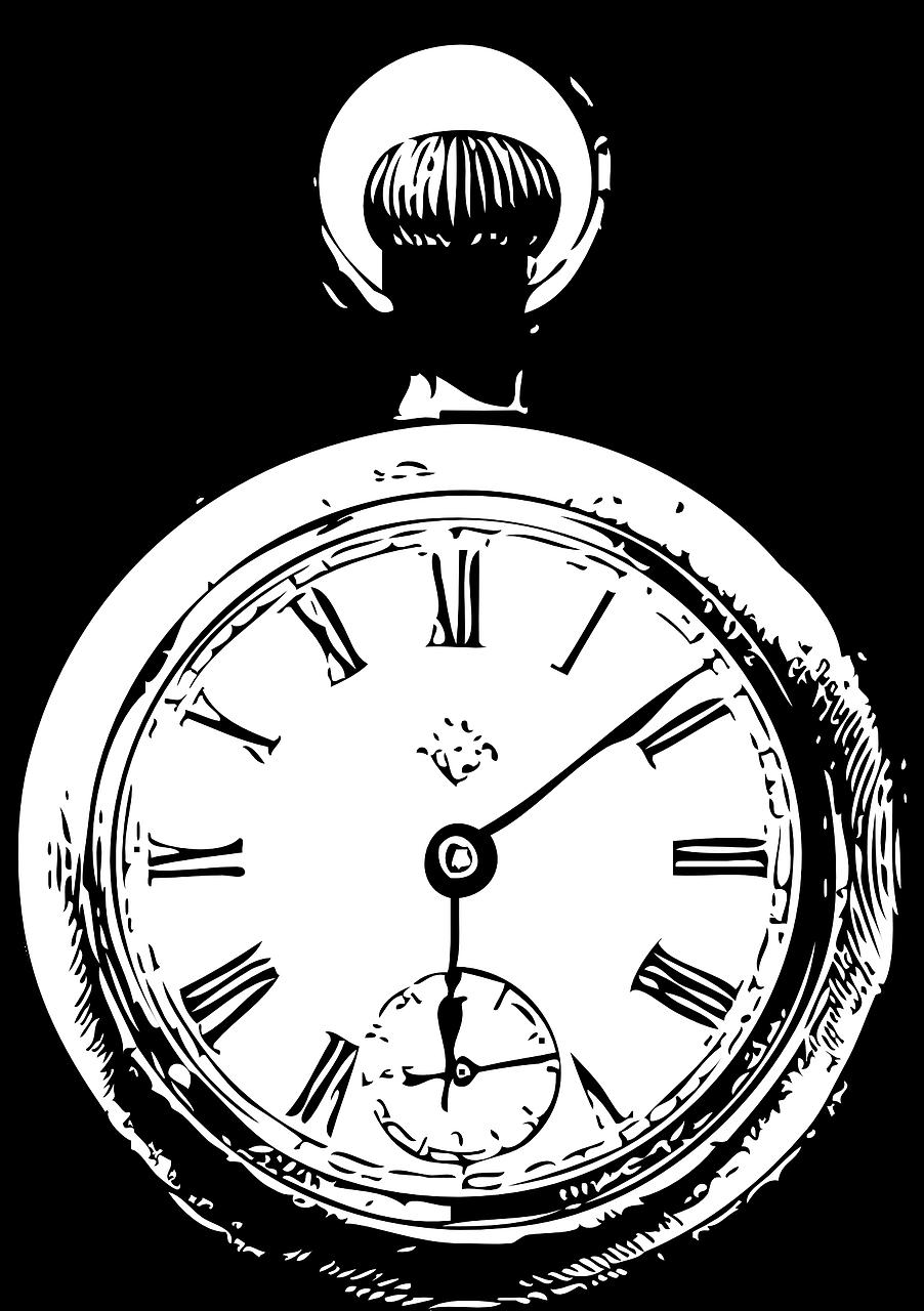 clocks, watch, black and white