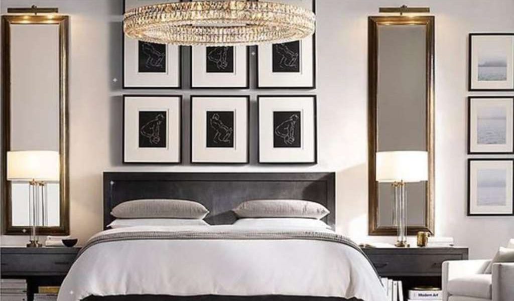 Rows of framed uniform prints create the illusion of a full-height headboard