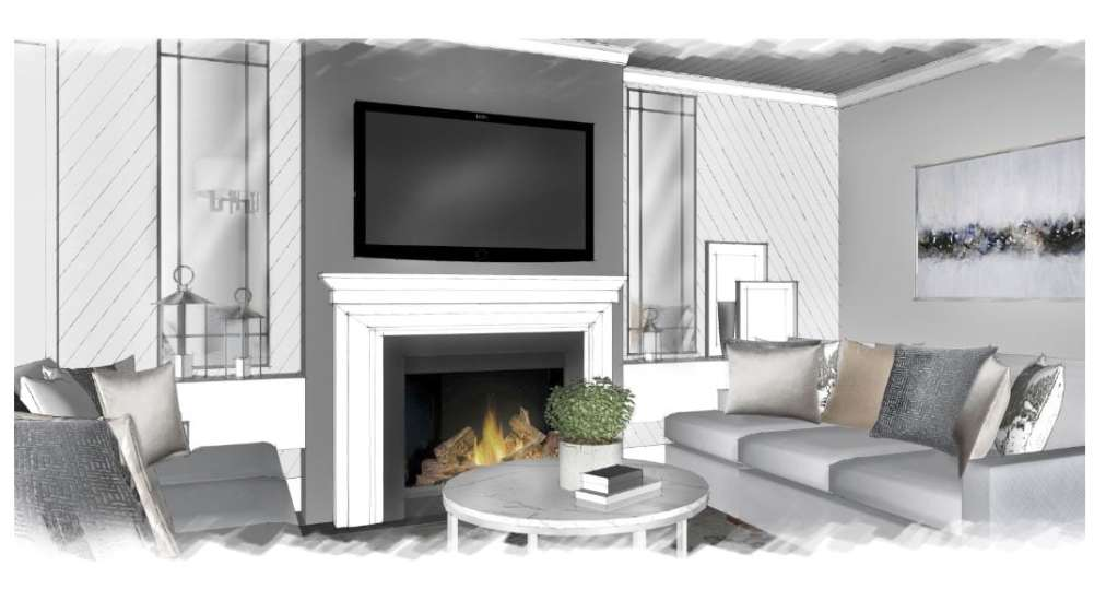 A 3D visual walkthrough showing what a client's new fireplace mantle and living room will look like
