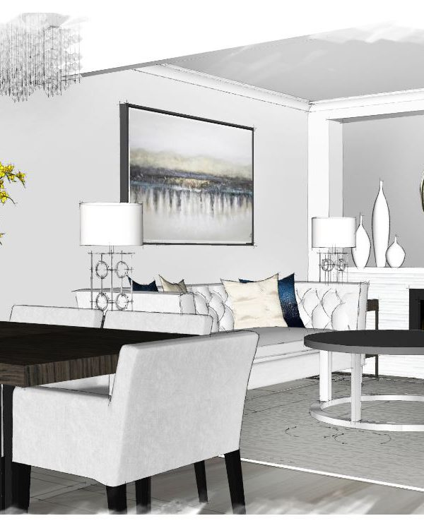 A 3D visual walkthrough image for one of our living room design projects