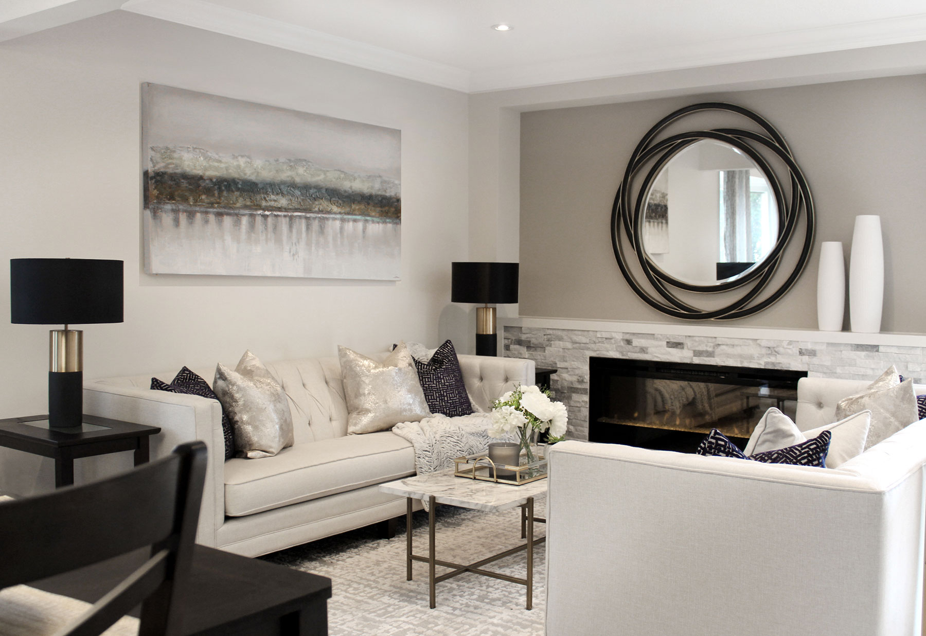 To make the space feel light and luxurious, we kept much of the palette and accessories very subtle