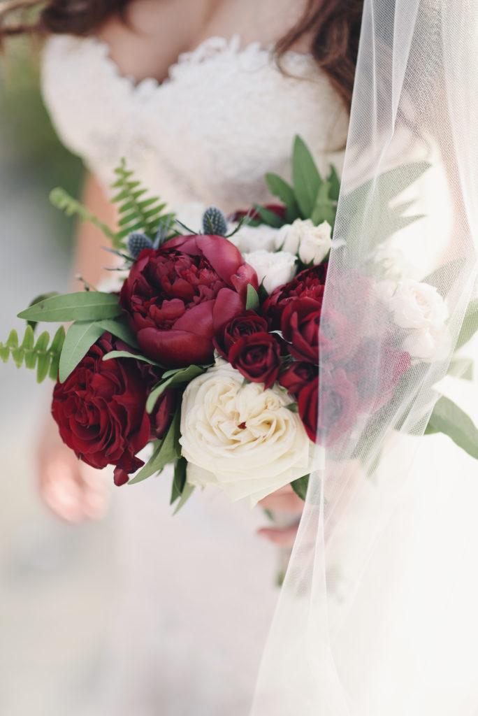 burgendy wedding bouquet, burgendy peonies