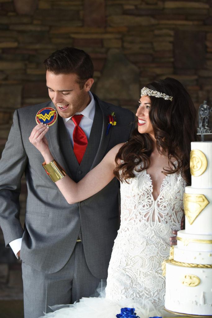 super hero bride and groom, super hero cookies