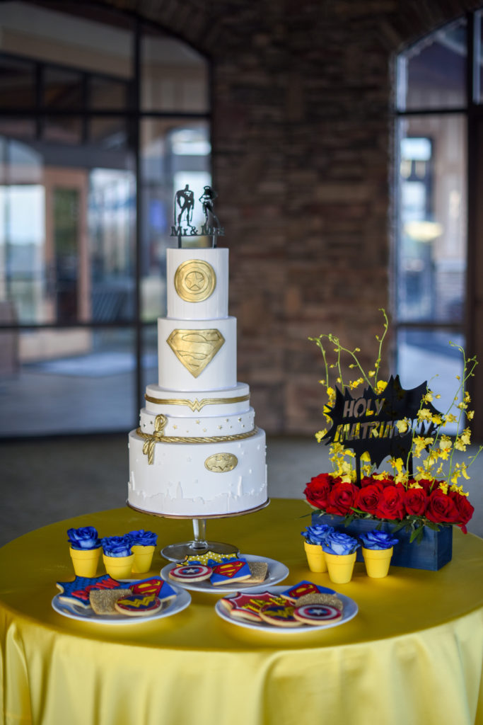 superhero cake, super hero cookies, holy matrimony