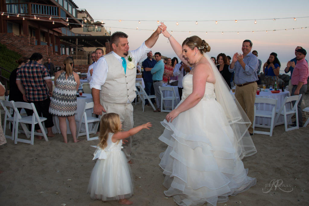 bride and groom first dance, beach wedding