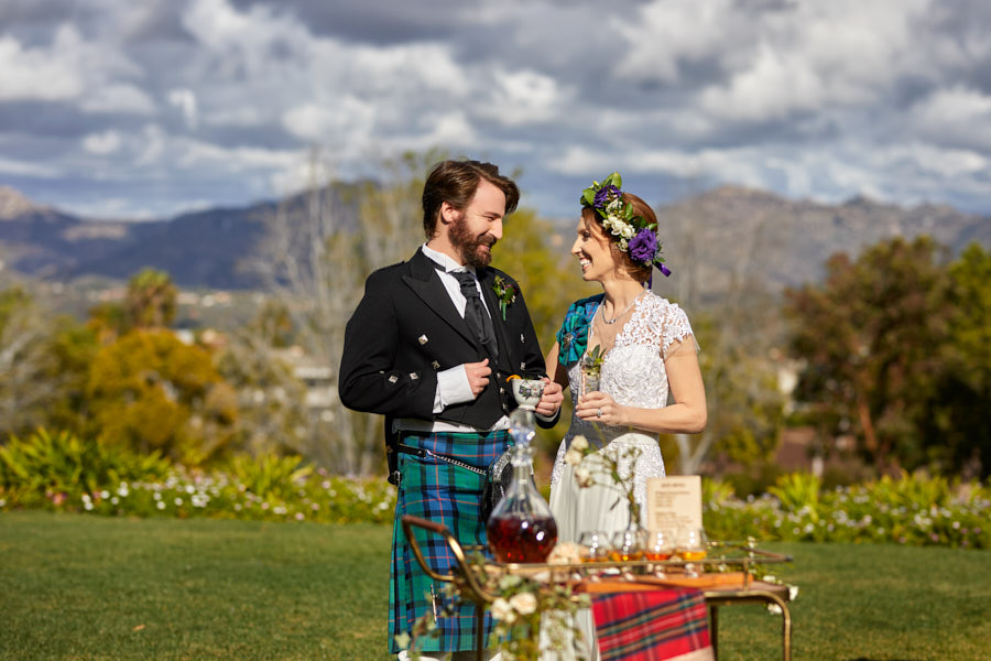 scottish wedding, bride and groom, cheers, celtic