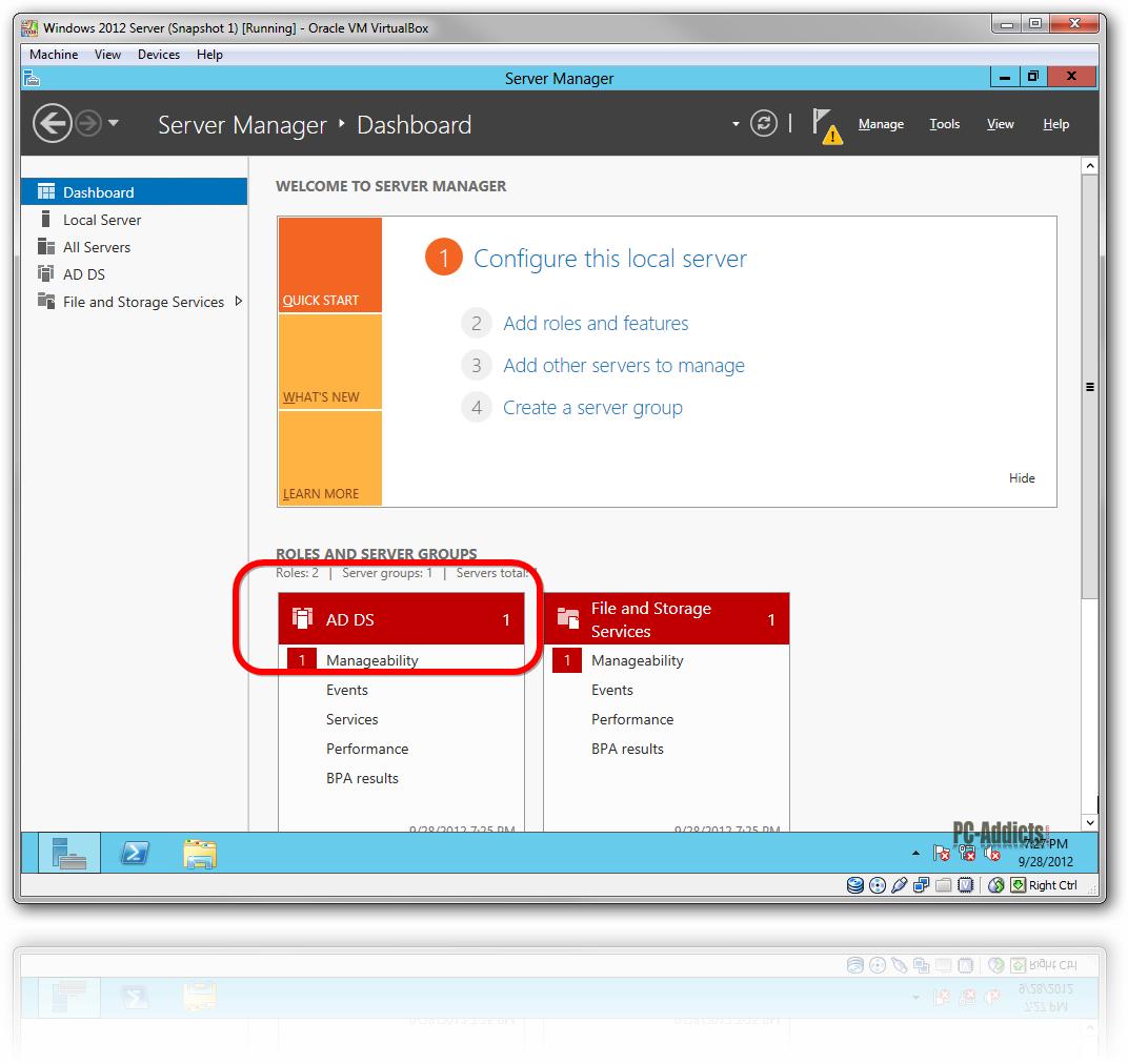 Server 2012 AD DS role configuration