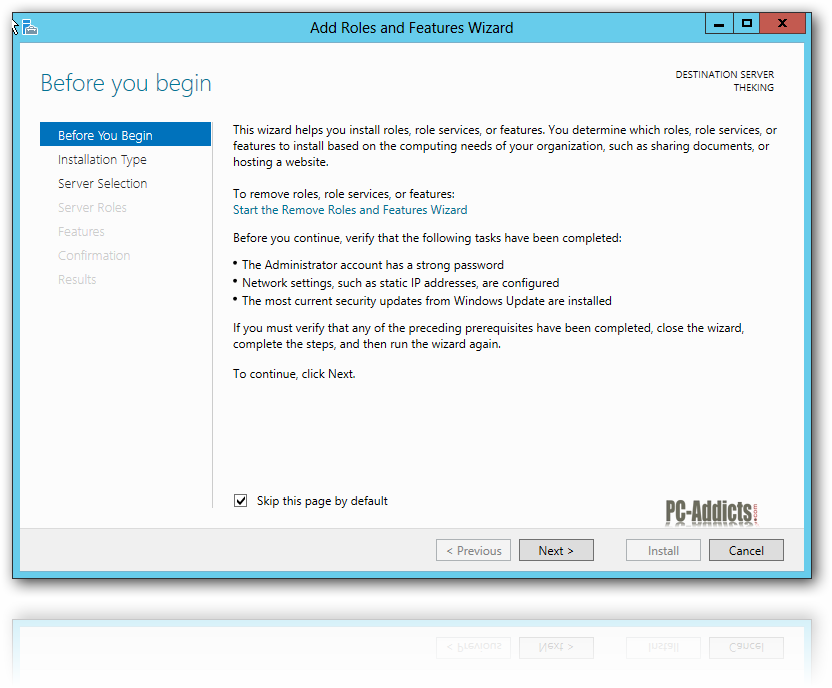 Server 2012 Add Roles and Features Wizard