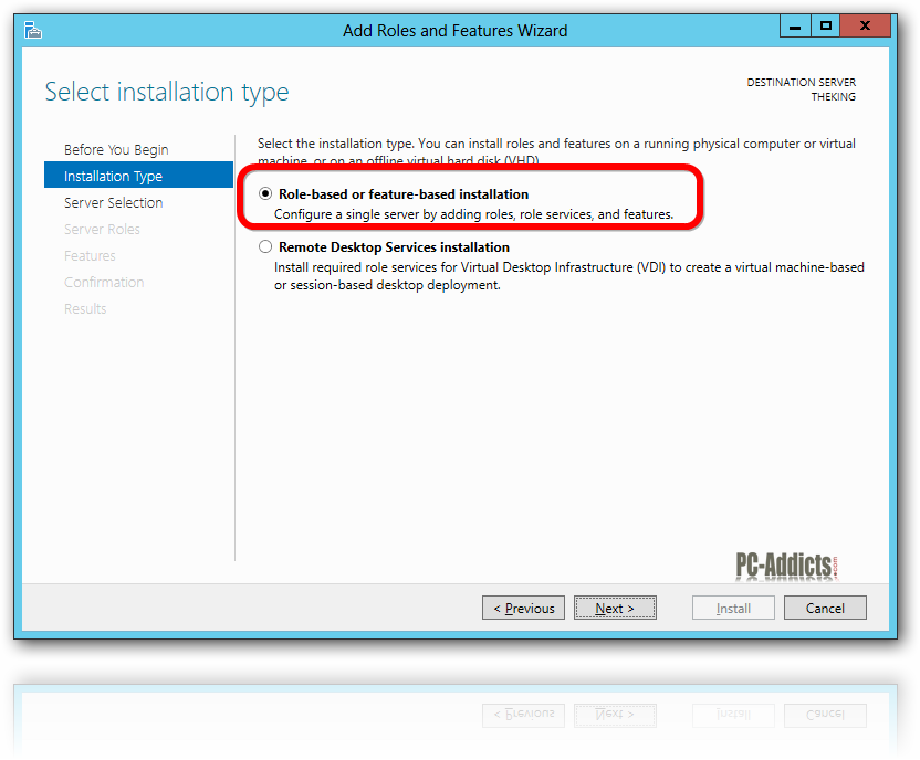 Server 2012 Role-based or featured-based installation
