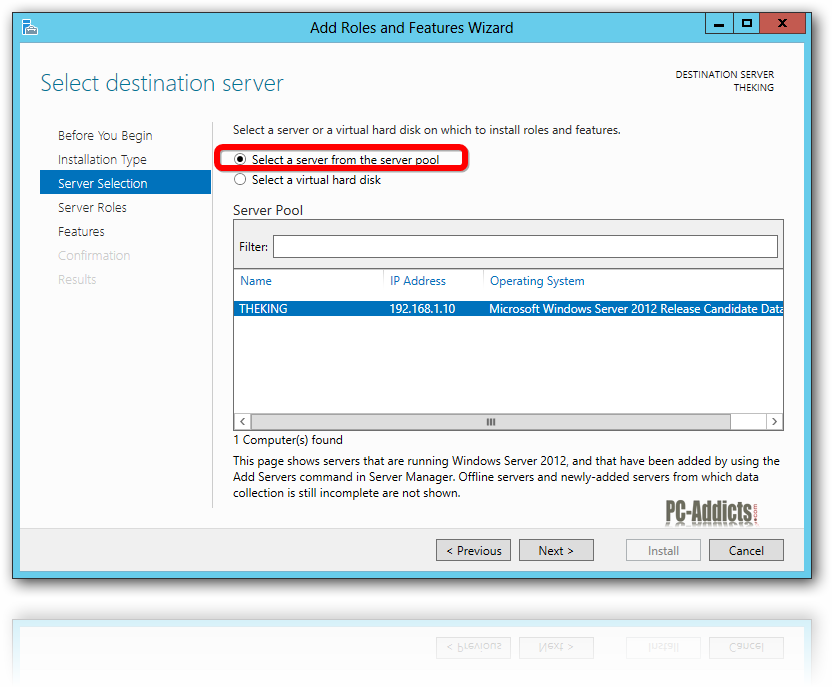 Server 2012 Server Selection