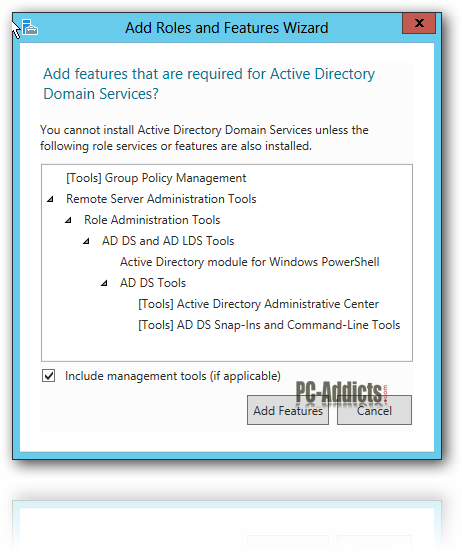 Server 2012 Add Features AD DS