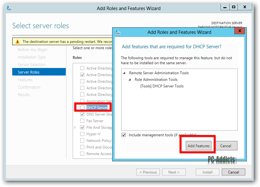 Server 2012 Select DHCP Add Features