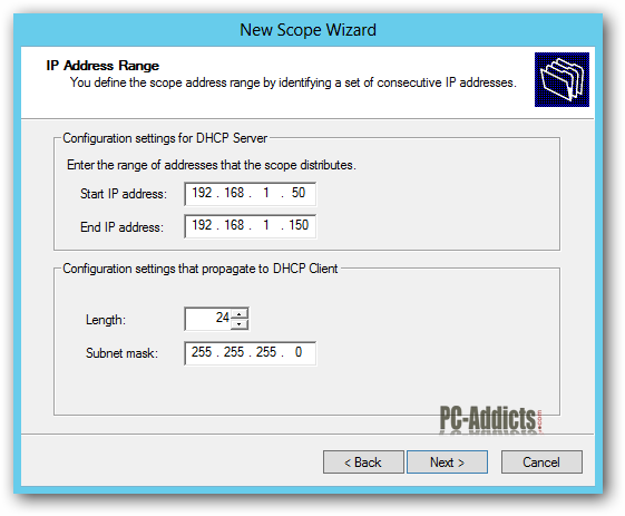 Server 2012 DHCP Scope Range