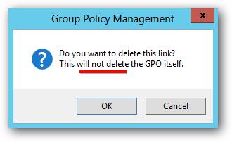 Server 2012 Delete Link Not GPO