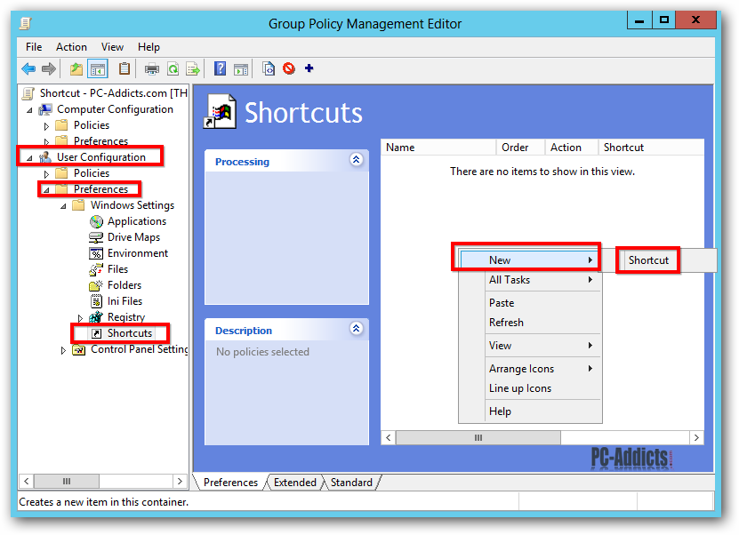 Server 2012 Edit GPO New Shortcut