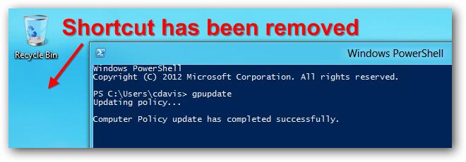 Server 2012 Removed Deployed Shortcut Gpupdate