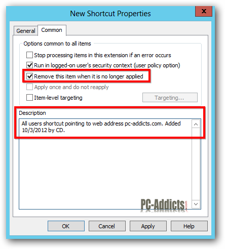 Server 2012 New Shortcut Properties Common
