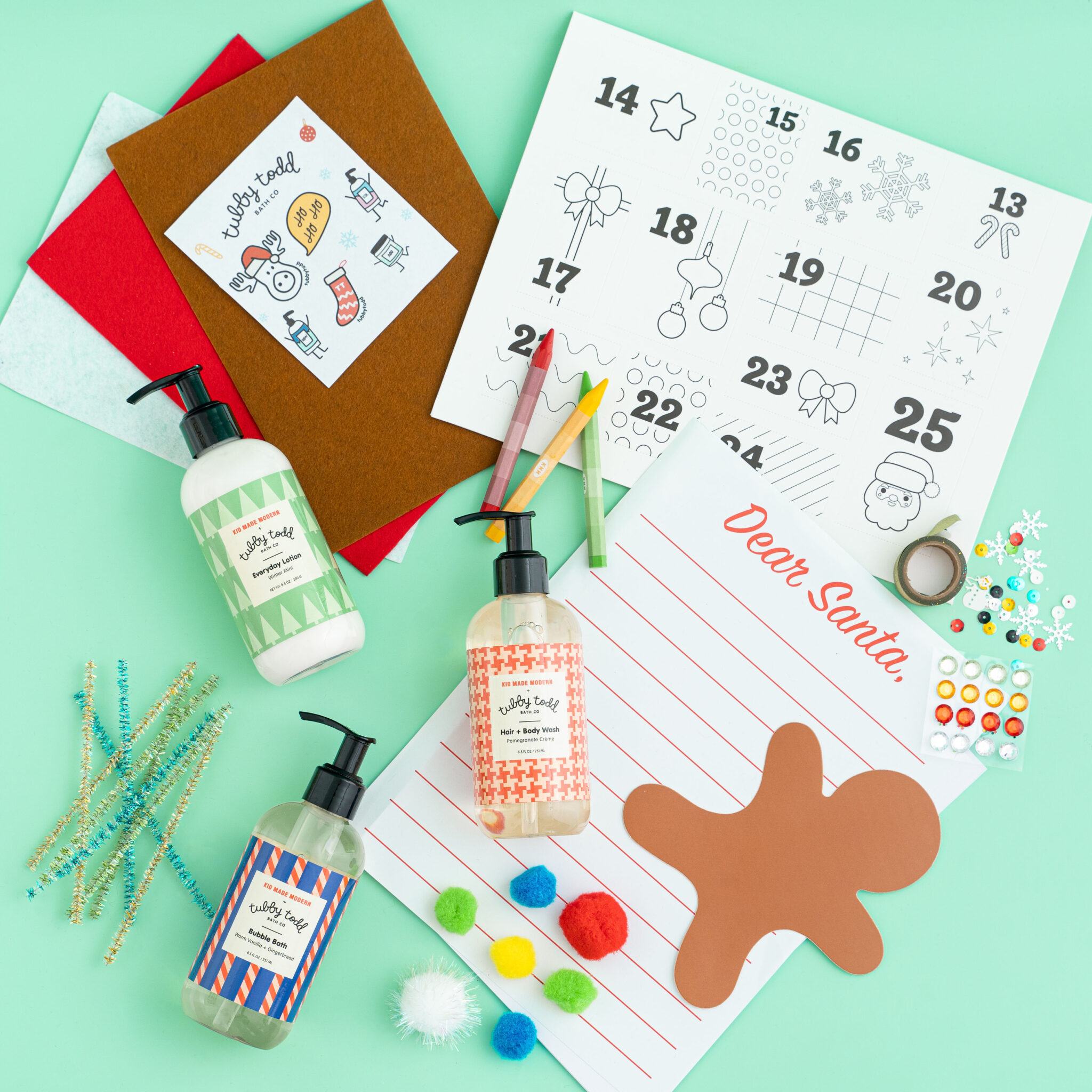 Tubby Advent Gift Set including Kid Made Modern DIY Advent Calendar and Seasonal Tubby Todd scents
