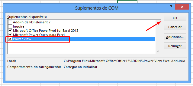 Marcando ativar o Power View no Excel