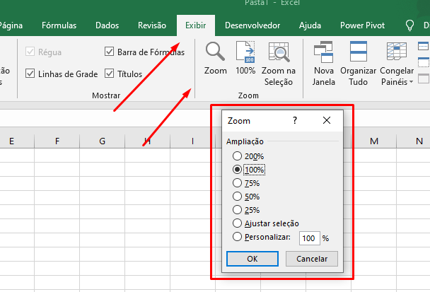zoom da planilha do Excel