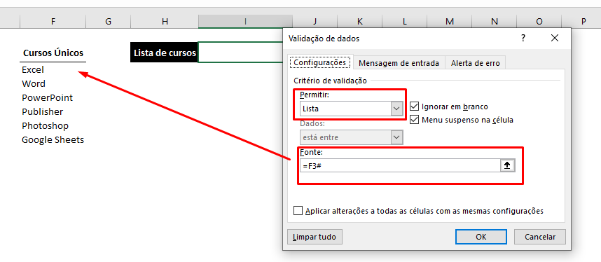 Célula do poder do # no Excel