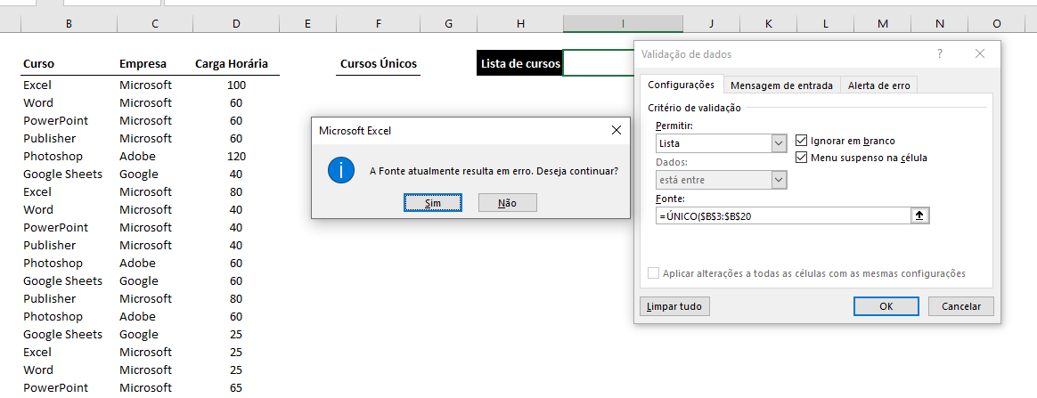Erro no poder do # no Excel