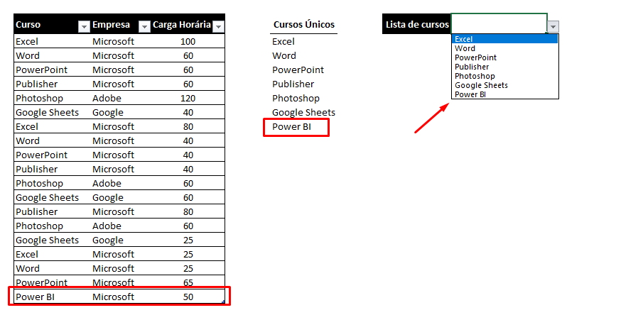 Resultado do poder do # no Excel