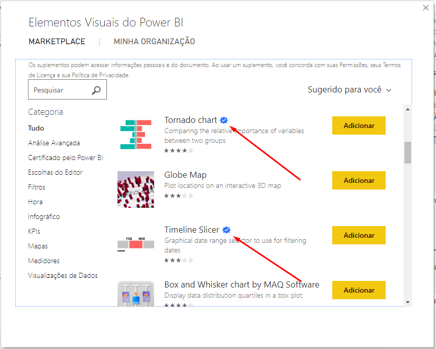 para Importar Visuais no Power BI verificados