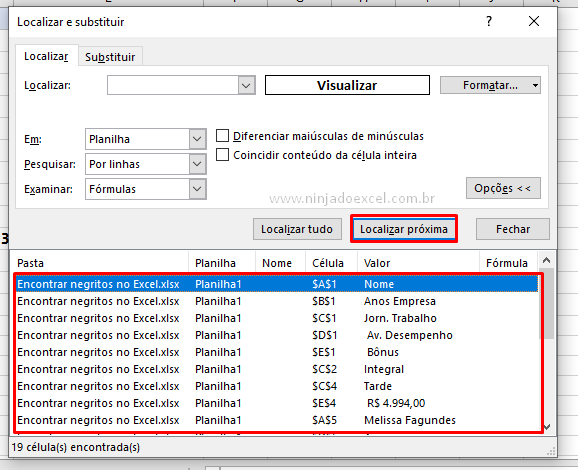 Encontrando negritos no Excel