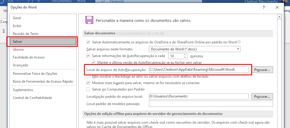Local para Recuperar um documento do Word