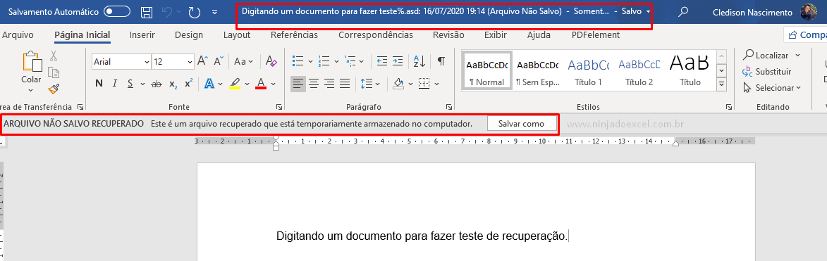 Recuperar um documento do Word recuperado
