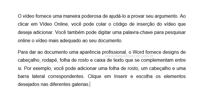 Resultado do Rand para Textos fictícios no Word