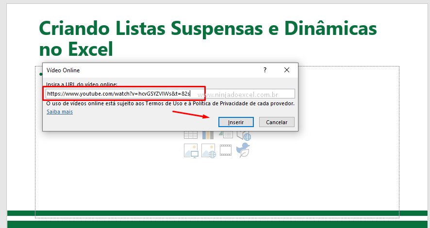 Colando URL do vídeo no PowerPoint