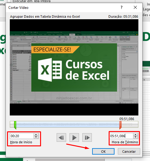 Cortando vídeo no PowerPoint