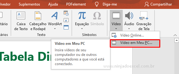 Vídeo no PowerPoint do PC
