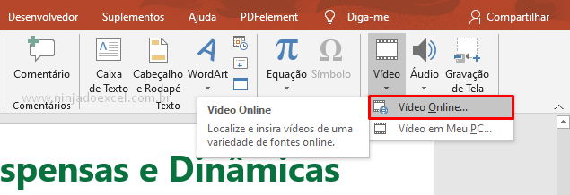vídeo no PowerPoint online