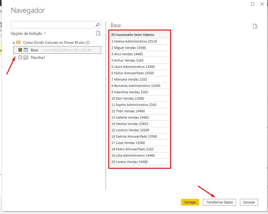Importando base para Dividir Colunas no Power BI