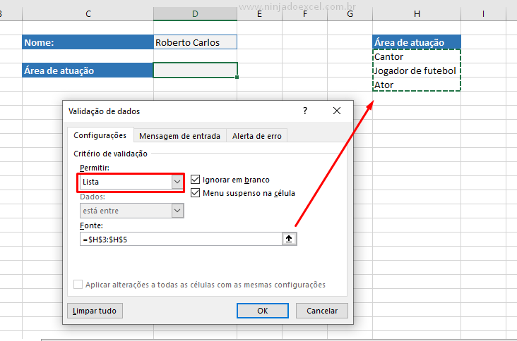 Lista do Menu Dropdown no Excel