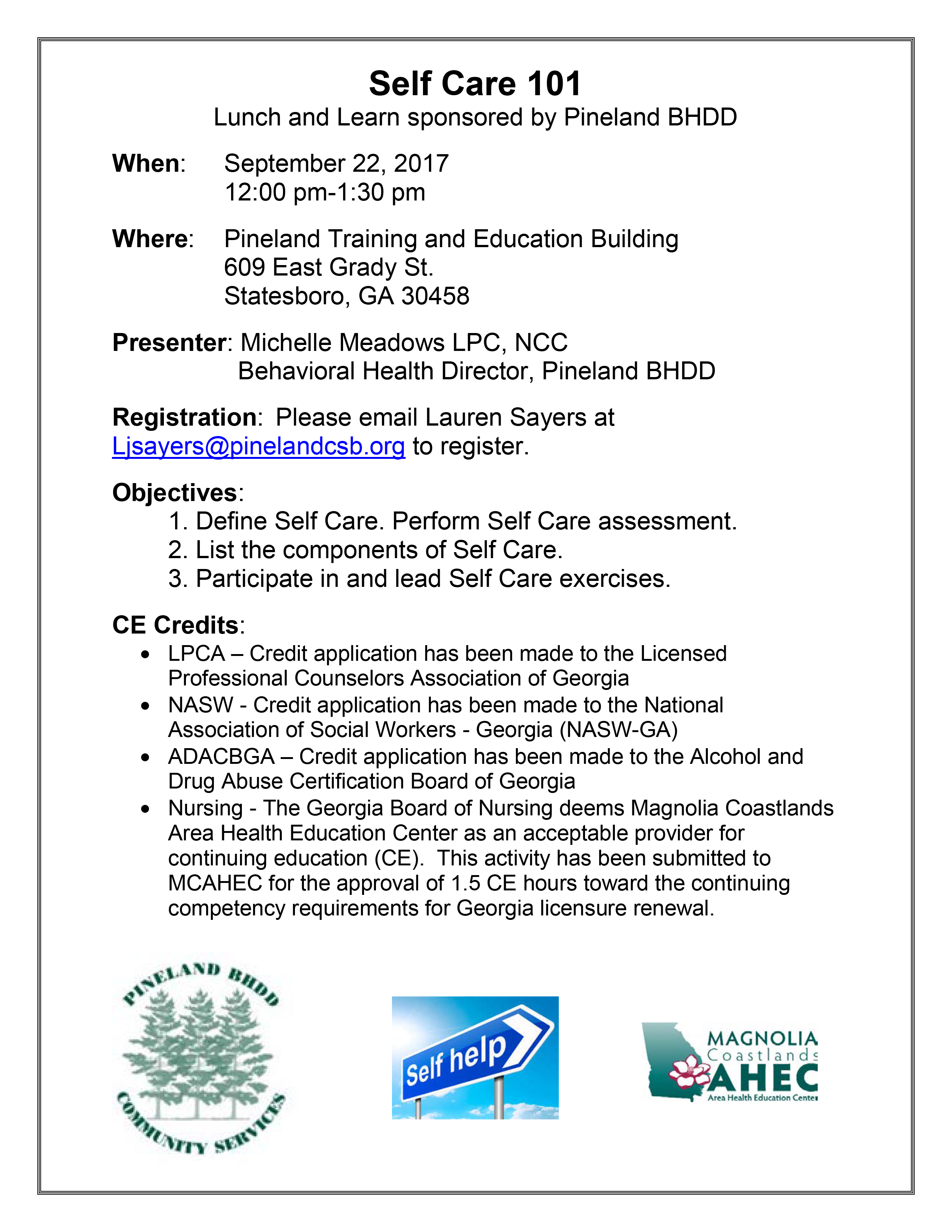 Self Care Lunch & Learn