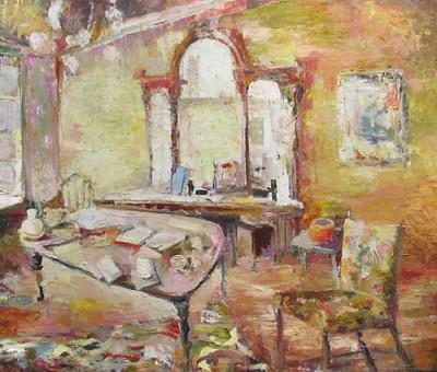"""""""In the House Next Door"""" Oil on canvas/ Huile sur toile 36"""" x 42"""". Nancy De Boni"""