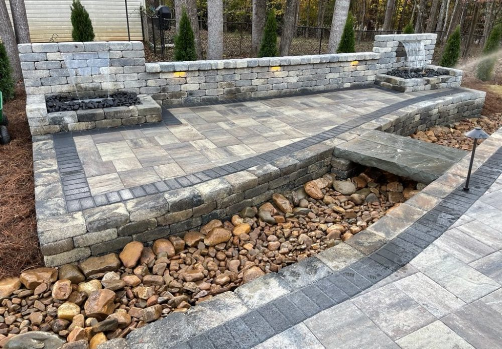 Tremron Paver Patio with Waterfalls