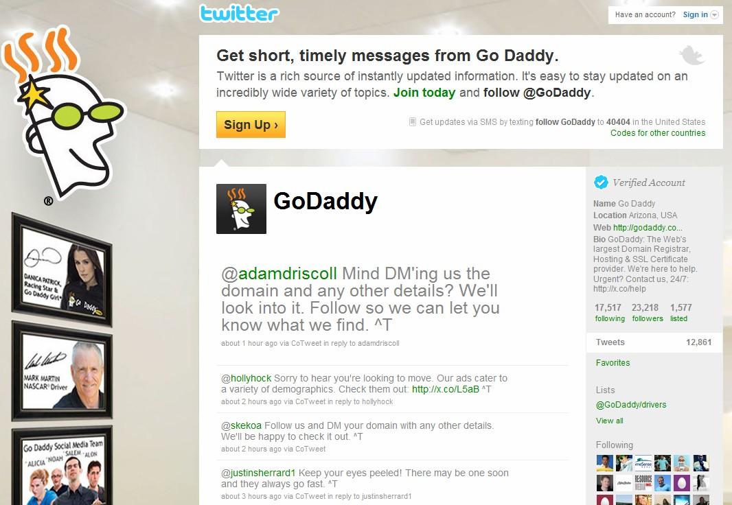 GoDaddy Twitter
