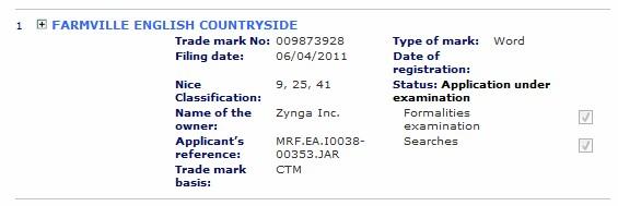 farmville english countryside trademark application